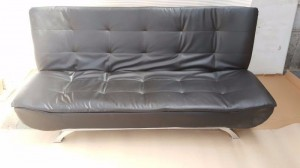 Black Soft and Cosy PU Synthetic Leather Sleeper Couch  with Pillow Top
