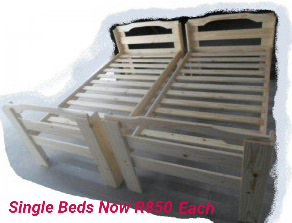 Rustic Single Beds In Raw Solid Wood Semi Sanded Down