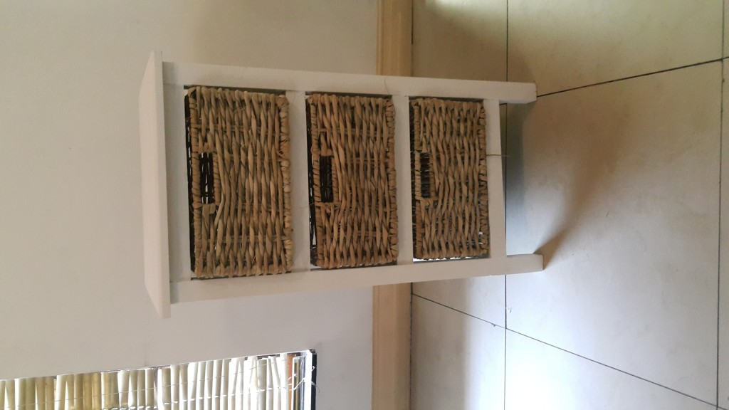 Solid Wood Three Drawers Chest of Drawers including three steel reinforced baskets