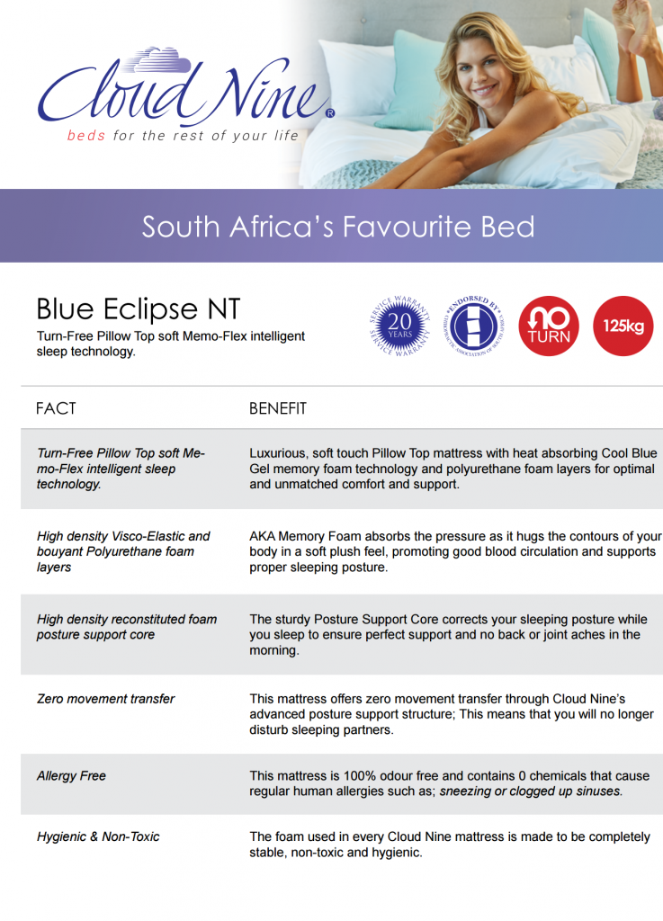 Cloud Nine Blue Eclipse NT SABS Technical Standards Approved By Orthopaedic South Africa