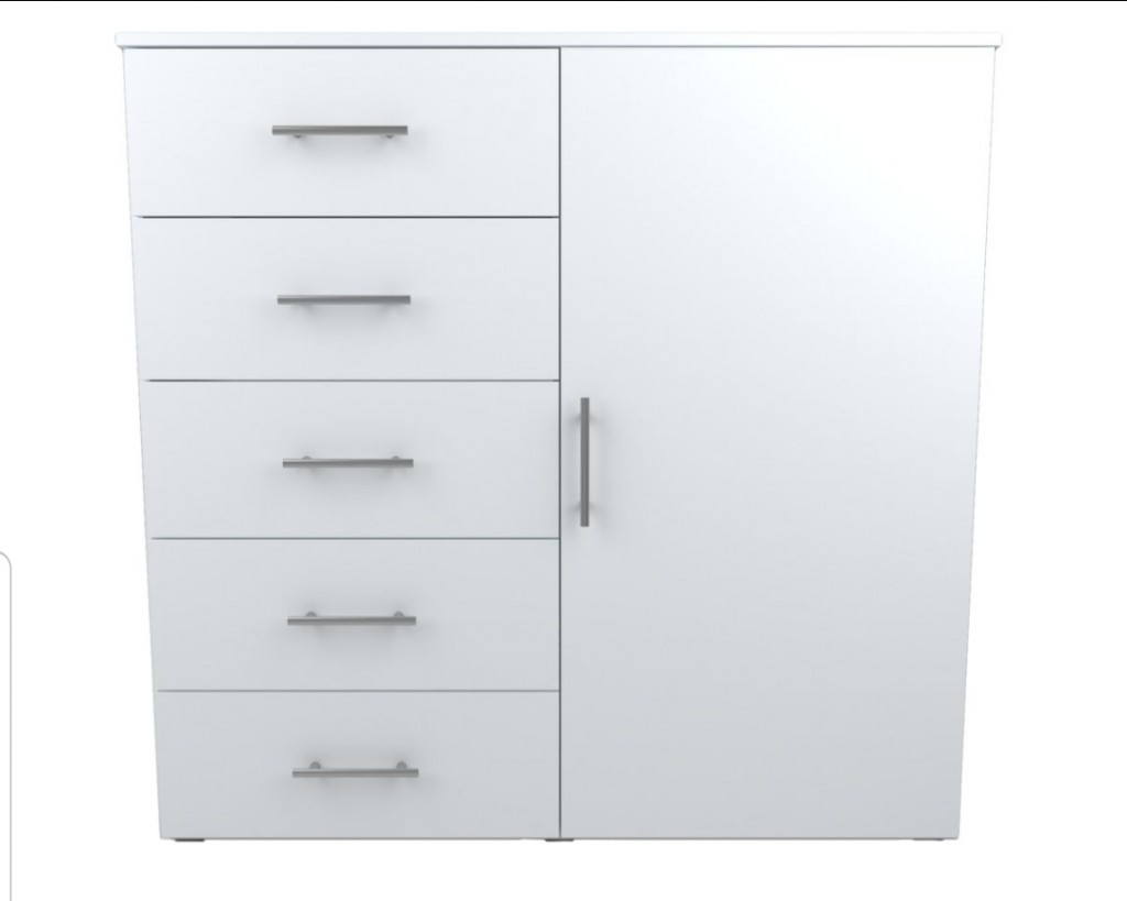 Chest of drawers with 5 drawers and one door