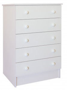 Melamine White 5 Drawer Chest of drawers
