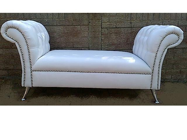 Chaise with Studs and Buttons on Arms
