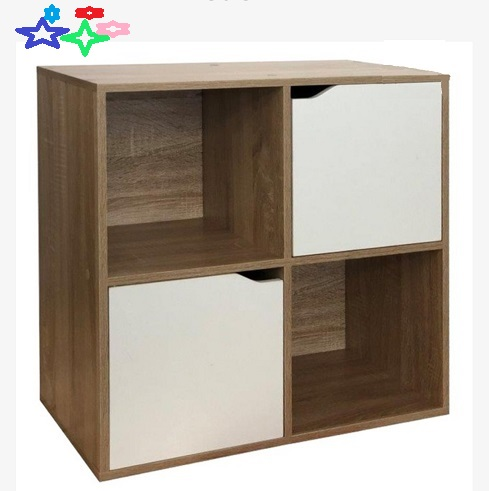 Pigeon hole units four hole with two doors Walnut Colour