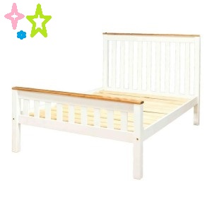 Single Beds with Two Tone Solid Wood with Clear varnish Top and White Bed