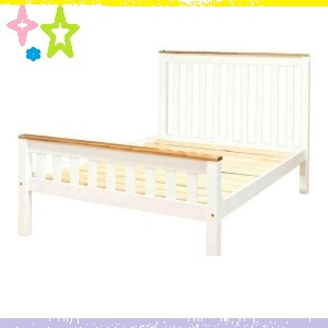 Single Beds with Tone Tone Solid Wood in Clear Varnish Top and White Drawers