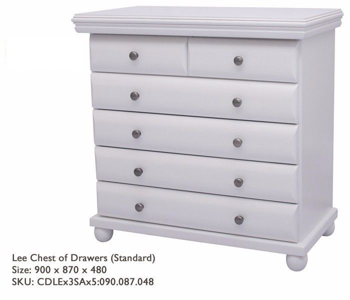 Stunning Solid Pine Wood with Curve Drawers with Round Feet