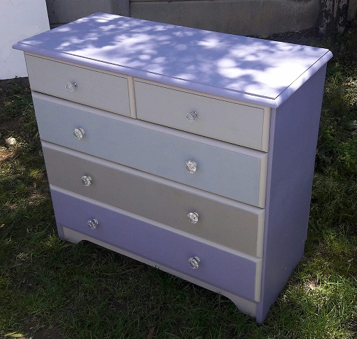 Stunning Solid Wood Chest of Drawers With Crystal Knobs and Various Purple Pastel Shades