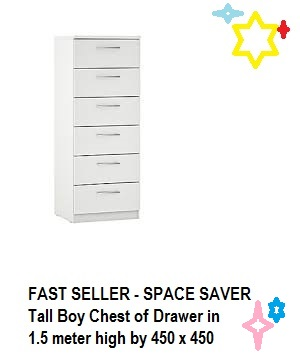 Fast Seller Space Saver Tall Boy Chest of Drawers