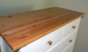 Two Tone Solid Clear Varnish Top with white drawers