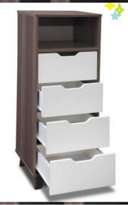 High Space Saving Tall Boy Chest of Drawers in Melamine Wood