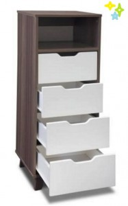 Space Saver High Tall Boy Chest of Drawers Four Drawer One Shelf