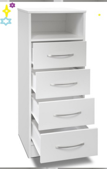 White Tall Boy Chest of Drawers With Four Drawer and Open Shelf