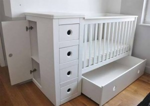 Contemporary square cot with circle handles with optional space saving chest of drawers with 4 drawers plus a side door