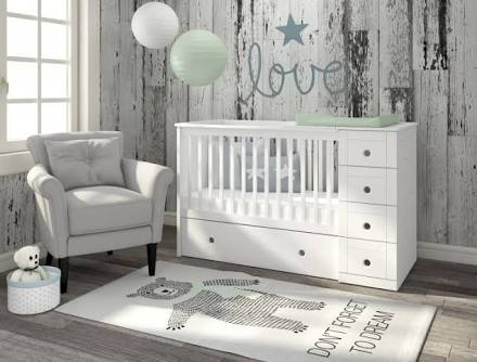 Contemporary square cot with round circle cut out handles