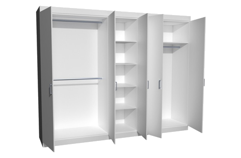 Two Hanging Cupboards with one Shelf Cupboard