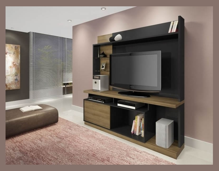 Plasma TV Wall Unit Stand Tita Wood
