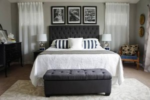 Block Headboard and Matching Chaise End of Bed Couch