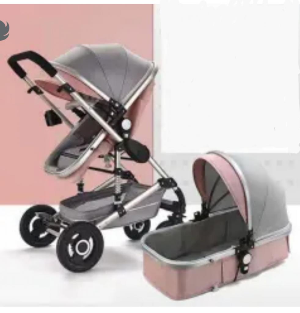De Lux 2 in 1 in Pink Baby Pram