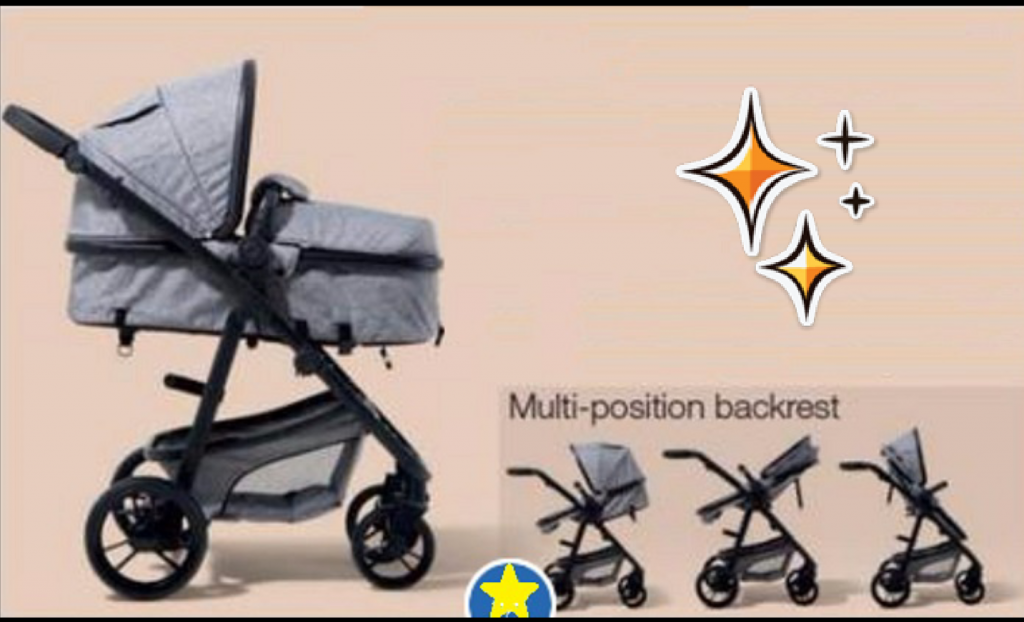 BCS Deluxe Two in One Designer Baby Pram Grey