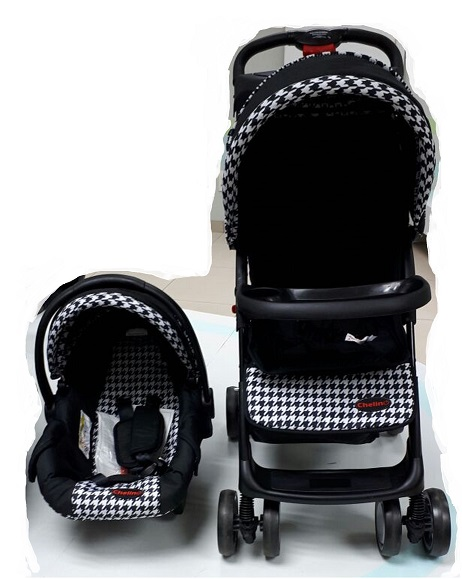Chelino Practical Pram Combo Set Baby Pram including Car Seat Colour Black and White