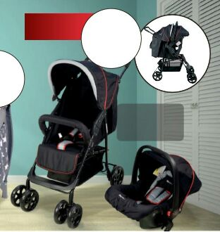 Our Golden Four Wheel Travel System Pram including SABS Approved Car Seat