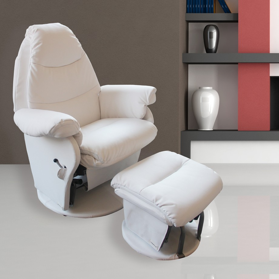 Babyhood Vogue Milk White Glider Chair with Foot Rest
