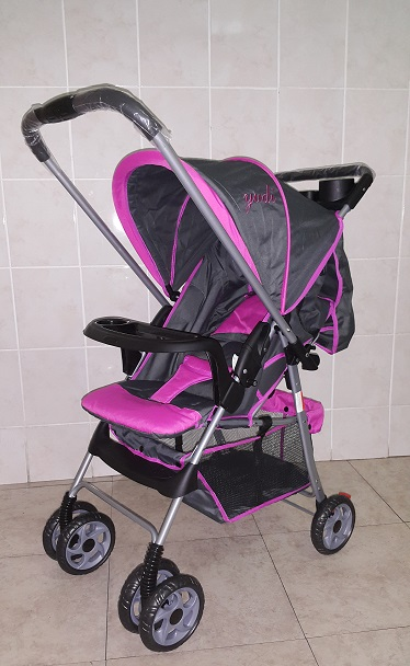 Pink and Grey Standard Reversible Baby Pram