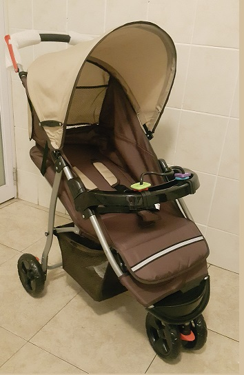 Neutral Cream and Brown Three Wheeler Baby Pram Model TW1