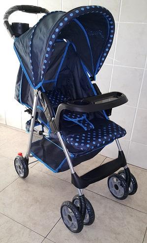 Yudi Classic Designer Stroller Pram Model C9 Blue Polka Dot