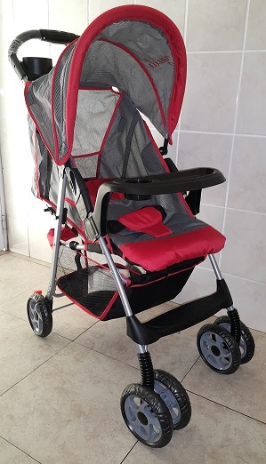 Yudi Classic Designer Stroller Pram Model C9 Red and Grey