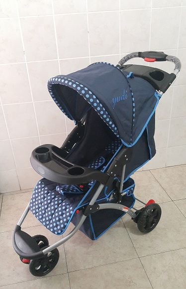 Yudi Large 3 Wheeler Prams Blue Polka Dot