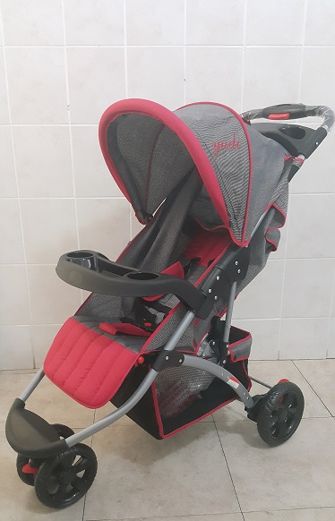 Yudi Large 3 Wheeler Silver and Red Baby Prams