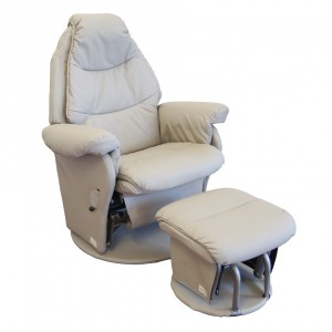 Ice Grey Beige Glider Chair Including Gliding Footstool
