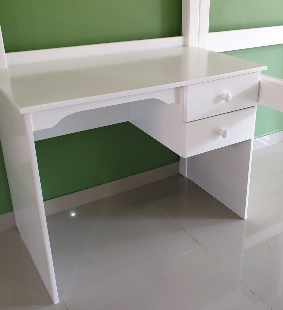 Sprayed White Writing Desk with Two Drawers