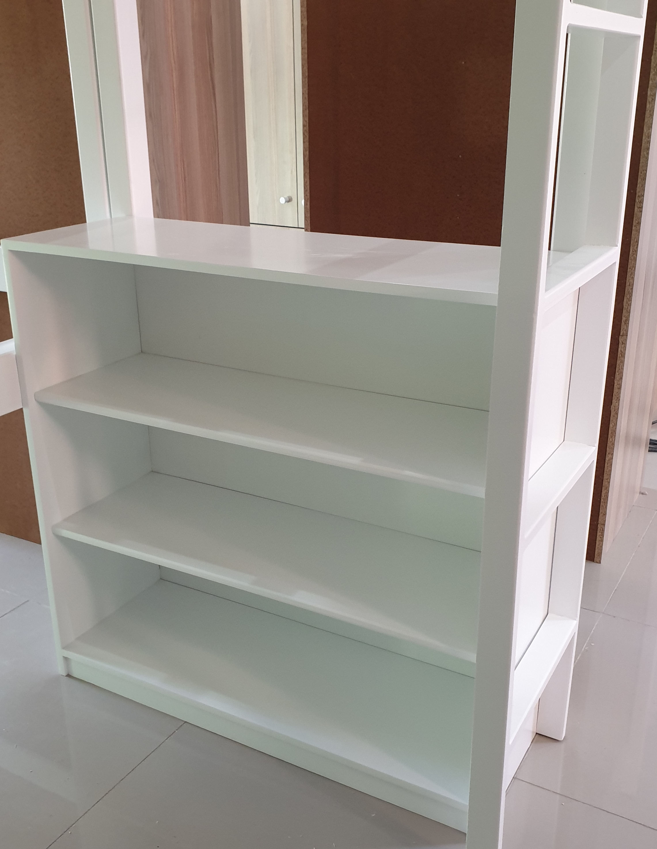 White Loft Bunk Bed Bookshelf