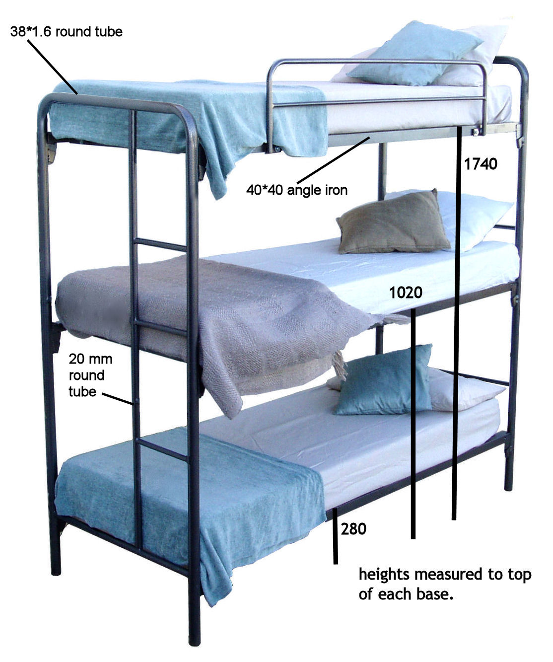 BCS Triple Bunk Beds Dimensions