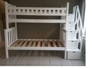 Contemporary Wooden Tribunk Bed Without Step Drawers