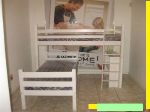 Horizontal Slates Double Bunk Bed The 2 beds will be on top of each other and excludes the book case and extra leg