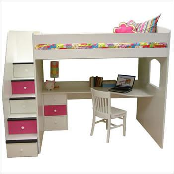 Loft bed with stairs and pedestal