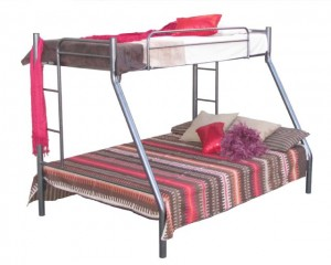 Silver Steel Tri Bunk Beds