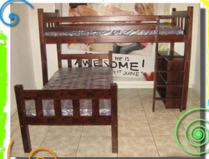 Vertical Slates Mahogany or White or Clear Varnish L shape Bunk Beds