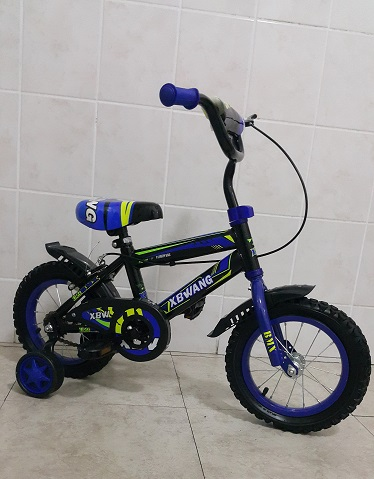 12 Inch Bicycle Blue with Inflatable Tube Wheels Mud Flaps and Training Wheels
