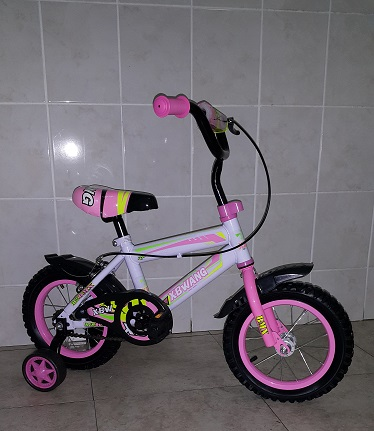 12 Inch Bicycle Pink with Inflatable Tube Wheels with Mud Flaps and Training Wheels