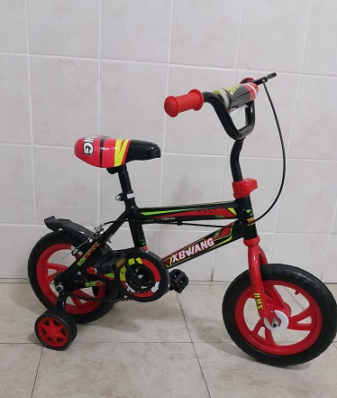 12 Inch Rubber Wheel Bicycle Red and Black with Mud Flaps and Training Wheels