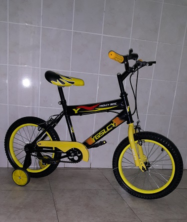 16 Inch Funky Yellow and Black Bike with Training Wheels