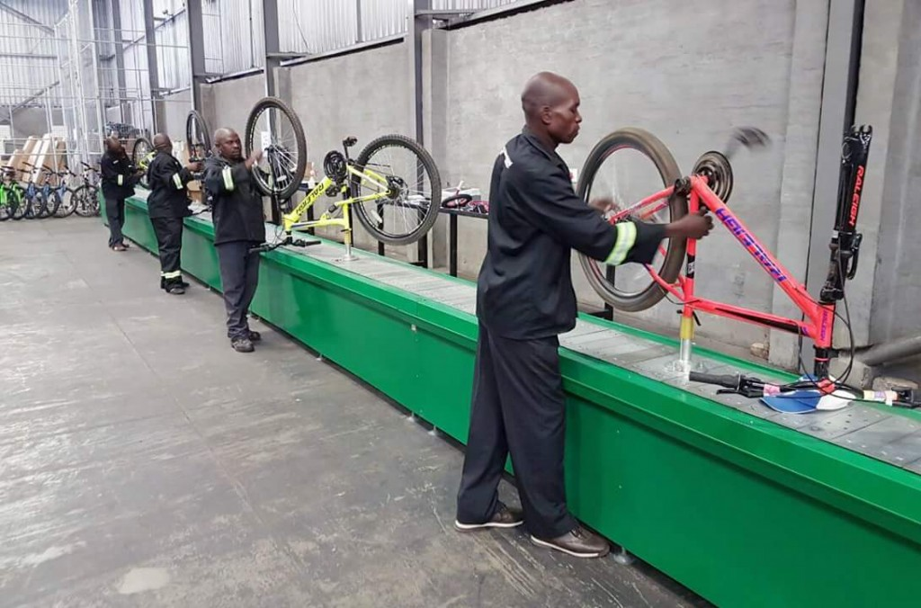 Bicycle assembly line in progress