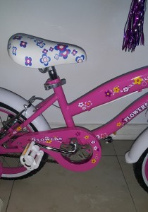 Pink 16 Inch Floral BMX Bicycle Close Up