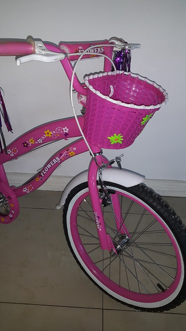 Pink 20 Inch Floral BMX Bicycle Close Up