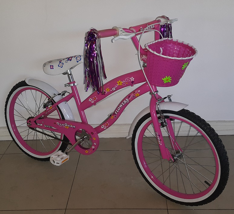 Pink 20 Inch Floral BMX Bicycle Full View